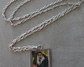 Vintage 1952 Snow White Evil Witch Old Hag Pendant with Chain