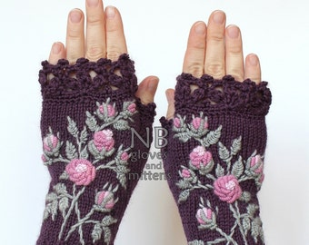 SMALL size, Knitted Fingerless Gloves, Violet, Roses, Clothing And Accessories, Gloves & Mittens, Gift Ideas, For Her, READY to SHIP