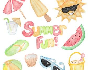 Summer clip art Summer fun Watercolor clip art Summer time Beach clip art Instant download Scrapbook clip art Watermelon Sunglasses Seashell