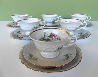 """Vintage """"Moss Rose"""" Teacups, Saucers & Bread Plates by Walbrzych"""
