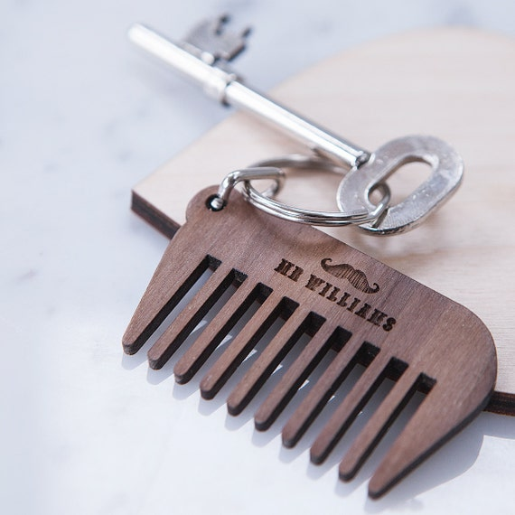personalised name beard comb keyring fathers day keyring. Black Bedroom Furniture Sets. Home Design Ideas