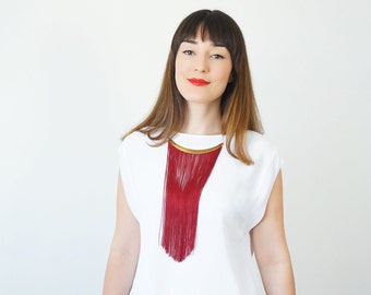Burgundy Fringe Necklace Party Necklace Prom Necklace Cocktail Necklace Going Out Jewelry Bridesmaid Necklace Party Jewelry / CHEORA