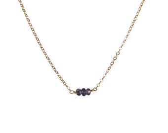 Blue Necklace, Water Sapphire Necklace, September Birthstone, Purple Blue Stone, Gold Iolite Necklace, Minimal Necklace, Birthstone Necklace
