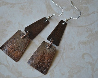 Copper dangling earrings, textured metal earrings, rustic earrings, artisan earrings