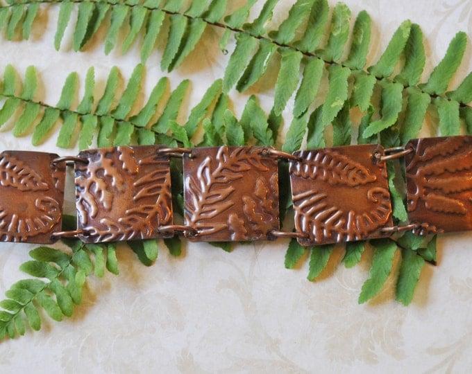 Fern copper bracelet. stamped copper bracelet, metal work, boho, forest, nature,