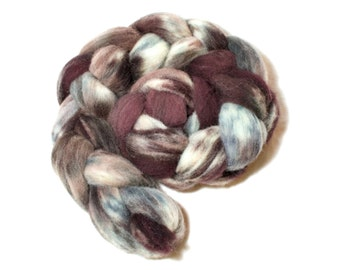 Hide – Hand Dyed Pure British Southdown Wool Top Roving for Spinning, Felting – Variegated Brown, Grey, Cream/White Hand dyed roving (80g)