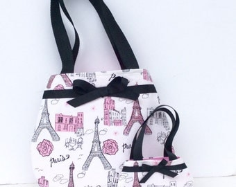 Eiffel Tower Purse, Paris, France Purses, Matching Purses for 18 Inch Dolls and Their Girls, Made to Order