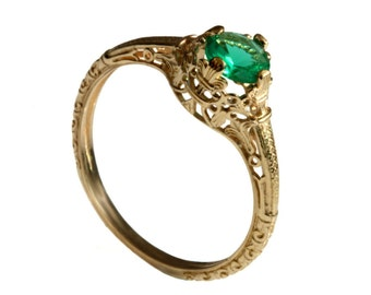18K Vintage solitaire Emerald Engagement ring 18k yellow gold natural Emerald filigree engagement ring, promise ring, May birthstone ring