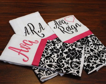 Black and White Damask Baby Burp Cloths PREMIUM 6 PLY, Diaper Bag Accessory, Set of 3