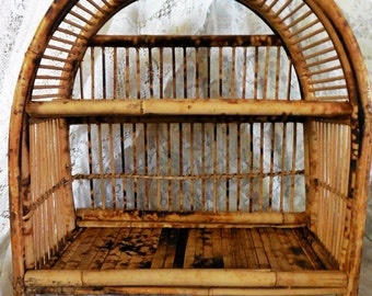 Vintage Burnt Bamboo Wall Shelf, Asian Birdcage Design, Arched Top, Two Shelves