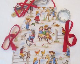 Cowgirl Apron | Toddler Apron | Ages 2-6 | School Apron | Art Apron | Kitchen Helper | Reversible Apron | Handmade item