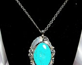 Vintage Signed Justin Morris Navajo Hand Made Sterling Silver Turquoise Pendant and Link Chain Necklace
