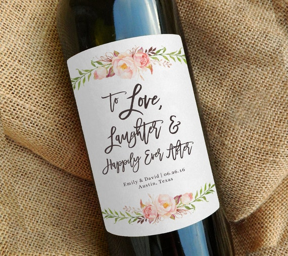 Personalized Wine Bottles For Wedding Gift : Custom Wine Bottle Label \\ Wedding Favor \\ Gift \\ Centerpiece ...