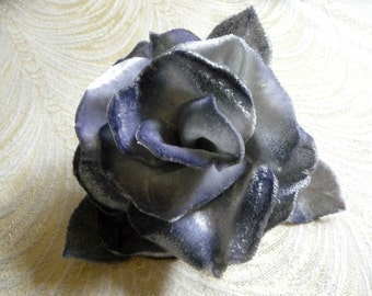 Vintage Silk Velvet Rose Gray Shaded Handmade Millinery Flower NOS for Hats Gowns Corsage Sash Fascinators