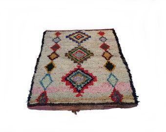 """87""""X65"""" Vintage Moroccan rug woven by hand from scraps of fabric / boucherouite / boucherouette"""