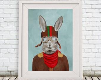 Rabbit Art print portrait painting Giclee Print Bunny Print Illustration Print wall art wall decor Wall Hanging: Rabbit Aviator
