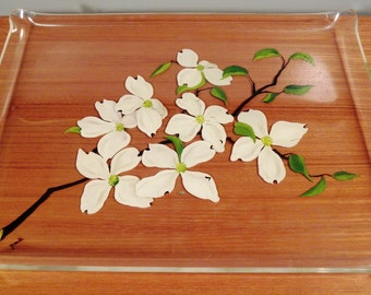 Vintage Lucite Hand Painted Serving Tray
