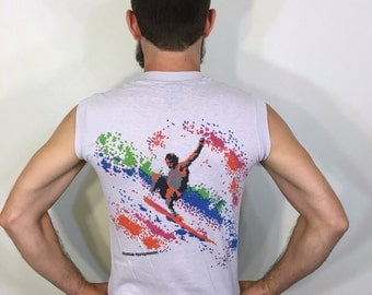 Ocean Pacific OP 8 Bit Surfer Surf Wave Colorful Rainbow Design Hawaii Summer Beach Sun Graphic Grey Tank Top Tee T Shirt Medium M 80s 1980s