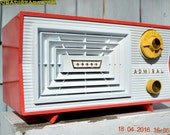 SALMON and White Mid Century Retro Antique 1956 Admiral Model 5C41 Tube AM Radio Totally Restored!