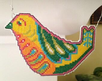 New Vibrant and Beautiful Bird Cross Stitch Christmas Ornament