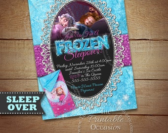 Frozen Sleepover Invitation, Frozen Sleepover Party, Frozen Invitation, Frozen Slumber Party Invitation, Digital Invitation, Chalkboard