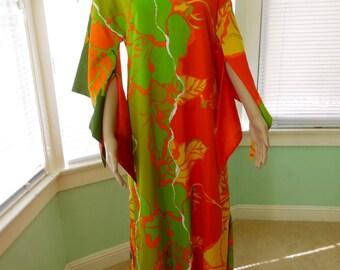 Vintage 60s HAWAIIAN DRESS/Andrade/Hawaiian Muu/Floral Kimono/Tiki Dress/Caftan Kaftan/Floral Maxi Dress/Retro 60s Aloha/Women Size 6 8