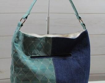 Bucket Bag, Shoulder Bag, Slouchy Hobo Bag, Denim and Blue Diamonds Bonnie Bucket Bag Purse