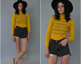1960s 70s striped acrylic turtleneck sweater