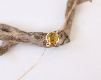 Citrine Bracelet - Charm Bracelet - Gemstone Bracelet - Gold Bracelet - Stone Bracelet - Arm Candy - Yellow Quartz - Stacking Bracelet
