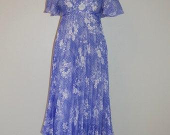 Floaty sheer long seventies dress by Meg Foxtail. Chiffon dress. Eu 38