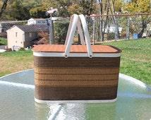 W. C. Redmon Wicker Picnic Basket with Metal Handle