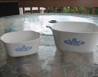 Set of Two Corning Ware Casserole Dishes  Cornflower Blue Pattern - No Lids