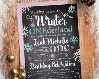 Winter Onederland Birthday Invitation (Digital file)
