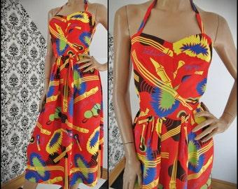 "SPECTACULAR Vintage 40s/50s Rare 2-pc WATUMULL'S Hawaiian Rayon Print Halter Dress with Matching Bolero Crop Jacket, 37/38"" Bust, 31"" Waist"