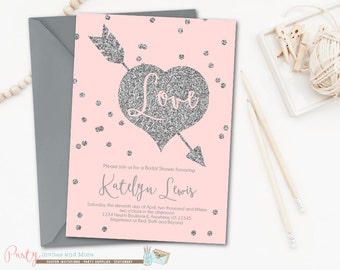 Bridal Shower Invitation, Pink and Silver Bridal Shower Invitation, Blush Pink Bridal Shower Invitation, Pink and Silver Wedding Shower