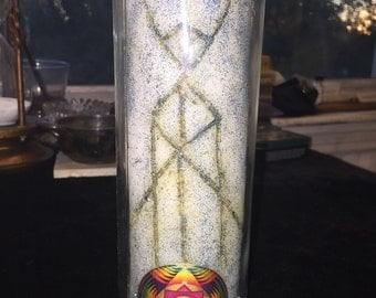 Meditation / Spirit Invocation Custom Inscribed & Charged Candle - Hand Carved Ritual Spell Hoodoo Voodoo Vodou Wicca