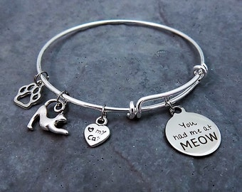 You Had Me at Meow - Charm Bracelet - Cat Lover Jewelry - Expandable Bangle - Cat Lover Gift - Meow - Cat Mom - Bracelet - Feline -