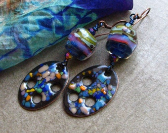 Boho unique Copper enamel, glass, artisan handmade Lampwork beads, OOAK Jewelry, lightweight boho Rhonda Harris