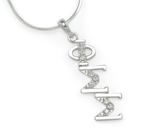 Phi Sigma Sigma Sterling Silver Diagonal Lavaliere set with Lab-Created Diamonds