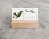 2016 or 2017 Mini Desk Calendar with Wood Stand, Monthly Calendar, stocking stuffer,  illustrated flowers, floral, laurels