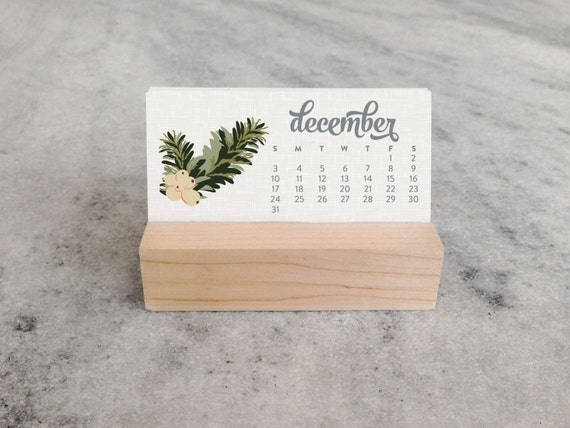 Calendar Wood Stand : Mini desk calendar with wood stand monthly