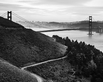 San Francisco Photography -  Golden Gate Bridge, San Francisco, California, Golden Gate Photo, San Fran Print, Black & White - 8x10 photo