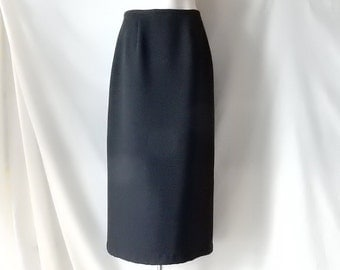 Sz 8 Long Formal Skirt - Black Crepe - Evening - Dressy -