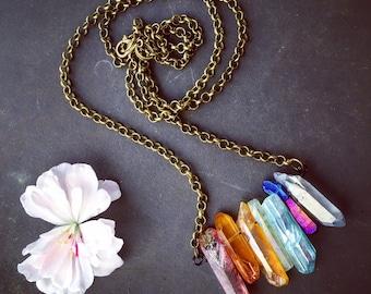 Raw Crystal Necklace -  Healing Crystal Necklace - Chakra Necklace - Titanium Quartz Necklace - Rainbow Necklace - Healing Crystals