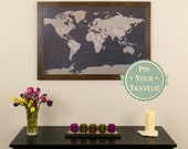 Earth Toned World Push Pin Travel Map with Pins and Frame 24x36  - Push Pin Travel Map - Push Pin Travel Map
