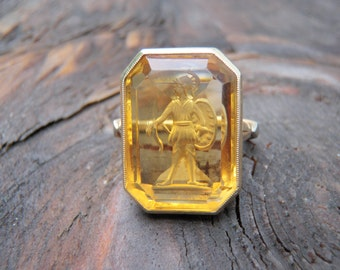 Solid 14K Yellow Gold Roman Greek Warrior Etched Gemstone Two Tone Unique Solitaire Large Intaglio Venetian November Birthstone Gift Golden