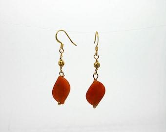 Carnelian and Gold Earrings