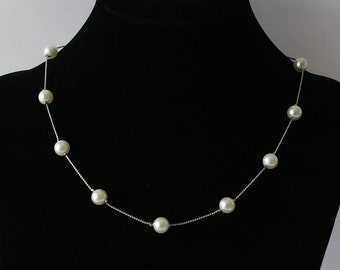 Bridal Necklace, Pearl Necklace, Bridal Acessory, Wedding Jewelry, Bridal Pearl Necklaces, Pearl Illusion Necklace