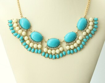 Party Necklace, Women's Jewelry, Turquoise And White Color Necklace, Bridal Necklace, Wedding Jewelry