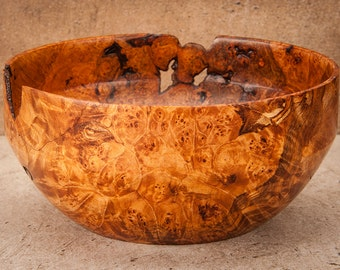 Hand Turned 6.5 inch by 3 inch spalted maple burl bowl